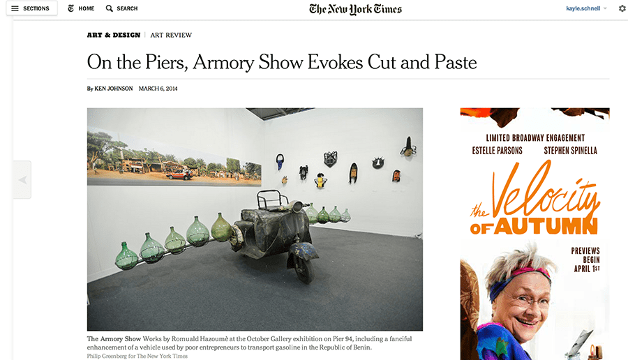 October Gallery exhibition featured in the New York Times